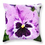 Purple Pansy Close Up - Digital Paint Throw Pillow
