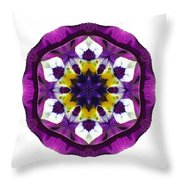 Purple Pansy II Flower Mandala White Throw Pillow