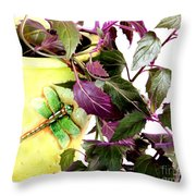 Purple Passion And Dragonfly Pot Throw Pillow