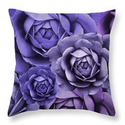 Purple Passion Rose Flower Abstract Throw Pillow