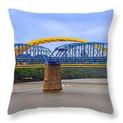 Purple People Bridge And Big Mac Bridge - Ohio River Cincinnati Throw Pillow by Christine Till