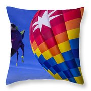 Purple People Eater Rides The Wind Throw Pillow