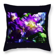 Purple Petunia Portrait Throw Pillow