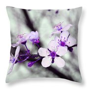 Purple Pink Blossoms Throw Pillow