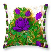 Purple Roses From The Garden 2 Throw Pillow