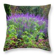 Purple Salvia In The Garden Throw Pillow