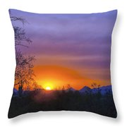 Purple Setting Sun Throw Pillow