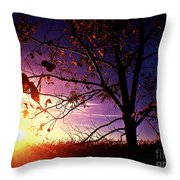 Purple Skies And Walnut Trees Throw Pillow