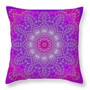 Purple Space Flower Throw Pillow