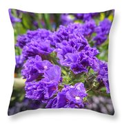 Purple Statice Flower Arrangement Throw Pillow