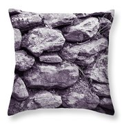 Purple Stone Wall Throw Pillow