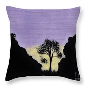Purple Sunset Drawing Throw Pillow