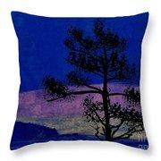Purple Sunset Bay Throw Pillow
