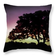 Purple Sunset Green Flash And Oak Tree Silhouette Throw Pillow
