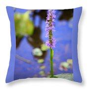 Purple Swamp Flower Throw Pillow
