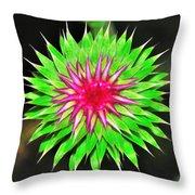 Purple Thistle Flower Throw Pillow