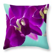 Purple Trio - Orchids Throw Pillow
