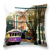 Purple Trolley Throw Pillow
