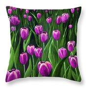 Purple Tulip Field Throw Pillow