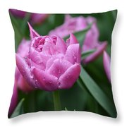 Purple Tulips In The Rain Throw Pillow