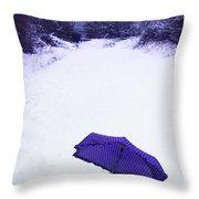 Purple Umbrella Throw Pillow by Amanda Elwell