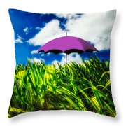 Purple Umbrella In A Field Of Corn Throw Pillow