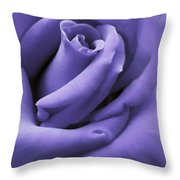Purple Velvet Rose Flower Throw Pillow