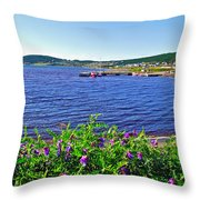 Purple Vetch Overlooking Rocky Harbour-nl Throw Pillow