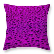 Purple Water Drops On Water-repellent Surface Throw Pillow