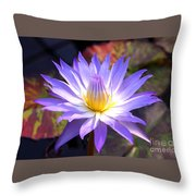 Purple Waterlily With Fall Lilypads Throw Pillow