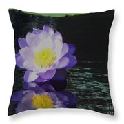 Purple White Yellow Lily Throw Pillow