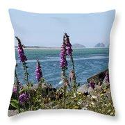 Purple Wildflowers At Netarts Bay Throw Pillow