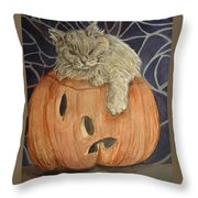 Purrfect Halloween Throw Pillow