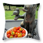Pussycat And Tomatoes Throw Pillow
