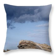 Cala Mesquida Stone Wall Against Rocks With A Stormy Sky Above - Putting Walls To Heaven Throw Pillow
