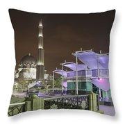 Putra Mosque At Night Throw Pillow