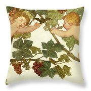 Putti Frolicking In A Vineyard Throw Pillow