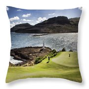 Putting Green In Paradise Throw Pillow