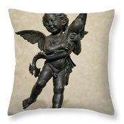 Putto With Dolphin By Verrocchio Throw Pillow by Melany Sarafis