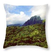 Puu Piei Trail Koolau Mountains Throw Pillow