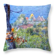 Pyramid Houses In Fall Watercolors Throw Pillow