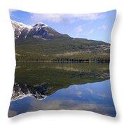 Pyramid Lake Mountain Reflections - Jasper, Alberta Throw Pillow
