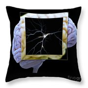 Pyramidal Neuron And Brain Throw Pillow