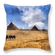 Pyramids Of Giza In Egypt Throw Pillow