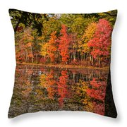 Quabbin Reservoir Fall Foliage Throw Pillow