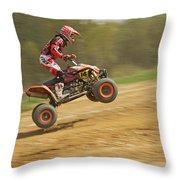 Quad Racer Jumping Throw Pillow