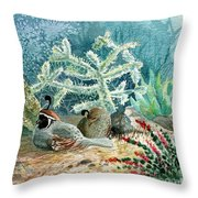 Quail At Rest Throw Pillow