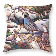 Quail Family Throw Pillow by Nadi Spencer