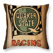 Quaker State Oil Can Throw Pillow by Carrie Cranwill