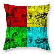 Quad Color Horses Throw Pillow